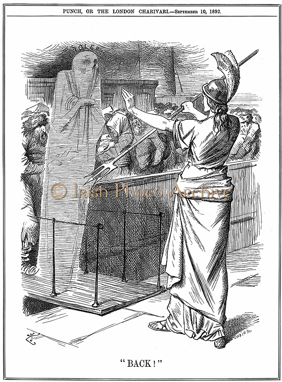 Britannia holding back Cholera at British ports. In the outbreak of 1892 about 260,000 died in Russia and 7,600 in Hamburg. The epidemic was prevented in Britain.  John Tenniel cartoon from 'Punch' London 10 September 1892.