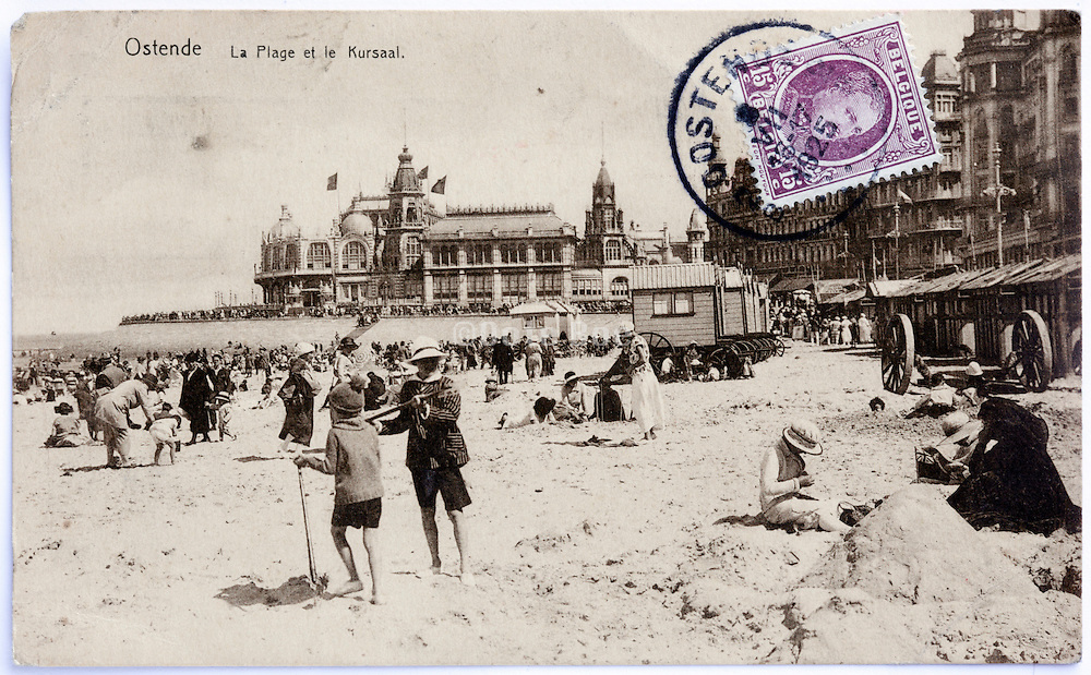 vintage postcard with stamp from the beach at Ostende Belgium 1925