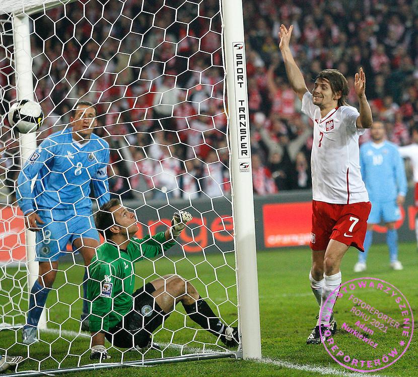 FIFA World Cup European Qualifying Group 3.Poland v San Marino.Saturday 1st of April 2009.Ebi Smolarek celebrates his goal for Poland ..Photo by : Piotr Hawalej / WROFOTO