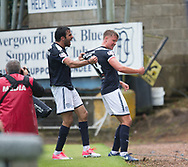 July 30th 2017, Dundee, Scotland; Betfred Cup football, group stages, Dundee versus Dundee United; Dundee&rsquo;s Sofien Moussa congratulates Mark O&rsquo;Hara on his equalising goal<br /> <br />  - Picture by David Young - www.davidyounghoto@gmail.com - email: davidyoungphoto@gmail.com