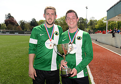 Lee Edwards of SWYD United and Joe Hedger of SWYD United with the trophy - Mandatory by-line: Dougie Allward/JMP - 08/05/2016 - FOOTBALL - Keynsham FC - Bristol, England - BAWA Sports v SWYD United - Presidents cup final