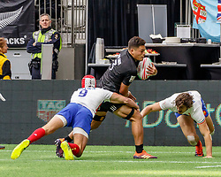 March 9, 2019 - Vancouver, BC, U.S. - VANCOUVER, BC - MARCH 10: Takes Gabin Villiere #9 and another France defender to tackle Tone Ng Shiu #3 of New Zealand of France  during Game #4- New Zealand 7s vs France 7s in Pool C match-up at the Canada Sevens held March 9-10, 2019 at BC Place Stadium in Vancouver, BC, Canada.(Photo by Allan Hamilton/Icon Sportswire) (Credit Image: © Allan Hamilton/Icon SMI via ZUMA Press)
