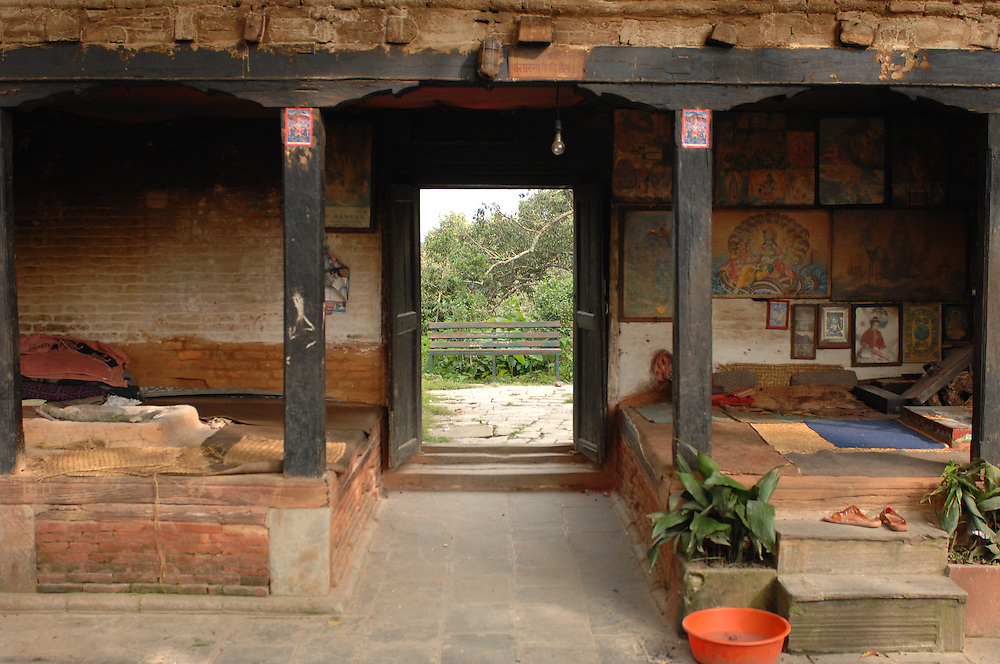 A doorway and hut in a old village in Nepal.