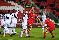 LIVERPOOL, ENGLAND - Tuesday, December 9, 2014: Liverpool's Daniel Cleary celebrates scoring the second goal against FC Basel during the UEFA Youth League Group B match at Langtree Park. (Pic by David Rawcliffe/Propaganda)
