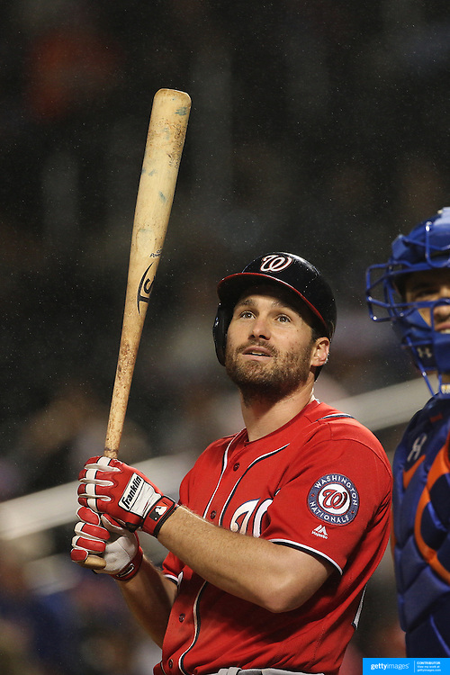 NEW YORK, NEW YORK - July 09: Daniel Murphy #20 of the Washington Nationals reacts to a foul ball while batting  during the Washington Nationals Vs New York Mets regular season MLB game at Citi Field on July 09, 2016 in New York City. (Photo by Tim Clayton/Corbis via Getty Images)