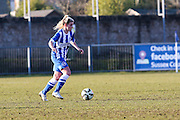 Brighton's Danielle Rowe on the ball during the FA Women's Sussex Challenge Cup semi-final match between Brighton Ladies and Hassocks Ladies FC at Culver Road, Lancing, United Kingdom on 15 February 2015. Photo by Geoff Penn.