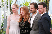Jess Weixler Jessica Chastain, Ned Benson and James Mcavoy at the photo call for the film The Disappearance Of Eleanor Rigby at the 67th Cannes Film Festival, Sunday 18th May 2014, Cannes, France.