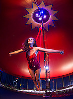 Kierstin Hedin performing on the Aerial Sling inside the Granite State Circus at Weirs Beach.  (Karen Bobotas/for the Laconia Daily Sun)