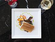 Smoked North Carolina Trout, quinoa salad, peaches, pea shoots, basil oil