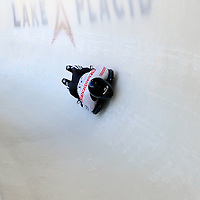 28 February 2007:  Eric Bernotas of the United States in turn 18 the 3rd run at the Men's Skeleton World Championships competition on February 28 at the Olympic Sports Complex in Lake Placid, NY.