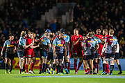 Friction between players during the Gallagher Premiership Rugby match between Harlequins and Saracens at Twickenham Stoop, Twickenham, United Kingdom on 6 October 2018.