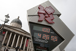 © licensed to London News Pictures. London, UK 18/04/2012. London 2012 Olympic Clock in Trafalgar Square showing 100 days countdown to the Games start. Photo credit: Tolga Akmen/LNP