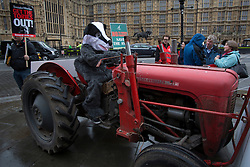 © licensed to London News Pictures. London, UK 12/11/2012. A man dressed as badger posing on a tractor as farm workers protesting against plans to abolish the Agricultural Wages Board by the Government, outside the Houses of the Parliament on 12/11/12. Photo credit: Tolga Akmen/LNP