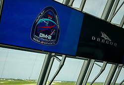 In this photo released by the National Aeronautics and Space Administration (NASA), The Demo-2 mission insignia is seen on a monitor inside firing room four following the launch of a SpaceX Falcon 9 rocket carrying the company's Crew Dragon spacecraft on the Demo-2 mission with NASA astronauts Douglas Hurley and Robert Behnken onboard, Saturday, May 30, 2020, in the Launch Control Center at NASA's Kennedy Space Center in Florida. NASA's SpaceX Demo-2 mission is the first launch with astronauts of the SpaceX Crew Dragon spacecraft and Falcon 9 rocket to the International Space Station as part of the agency's Commercial Crew Program. The test flight serves as an end-to-end demonstration of SpaceX's crew transportation system. Behnken and Hurley launched at 3:22 p.m. EDT on Saturday, May 30, from Launch Complex 39A at the Kennedy Space Center. A new era of human spaceflight is set to begin as American astronauts once again launch on an American rocket from American soil to low-Earth orbit for the first time since the conclusion of the Space Shuttle Program in 2011. Photo by Joel Kowsky / NASA via CNP/ABACAPRESS.COM