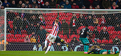 STOKE-ON-TRENT, ENGLAND - Saturday, January 25, 2020: Stoke City's Sam Clucas scores the first goal during the Football League Championship match between Stoke City FC and Swansea City FC at the Britannia Stadium. Stoke City won 2-0. (Pic by David Rawcliffe/Propaganda)