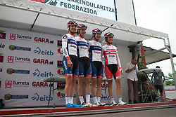 The Cervélo-Bigla Cycling Team riders stand on the sign-on podium before Stage 1 of the Emakumeen Bira - a 50 km road race, starting and finishing in Iurreta on May 16, 2017, in Basque Country, Spain.