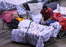 Local residents Thomas Lairsey, 71, and his wife Ann, 67, move into the Red Cross shelter at the Albany Civic Center to ride out Hurricane Irma on Sunday, September 10, 2017, in Albany, Ga. Photo by Curtis Compton/Atlanta Journal-Constitution/TNS/ABACAPRESS.COM