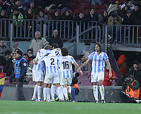 16.01.2013 Barcelona, Spain. Spanish Cup, quarter-final first leg. Picture show Malaga team after scoring during game FC Barcelona v Malaga at Camp Nou.