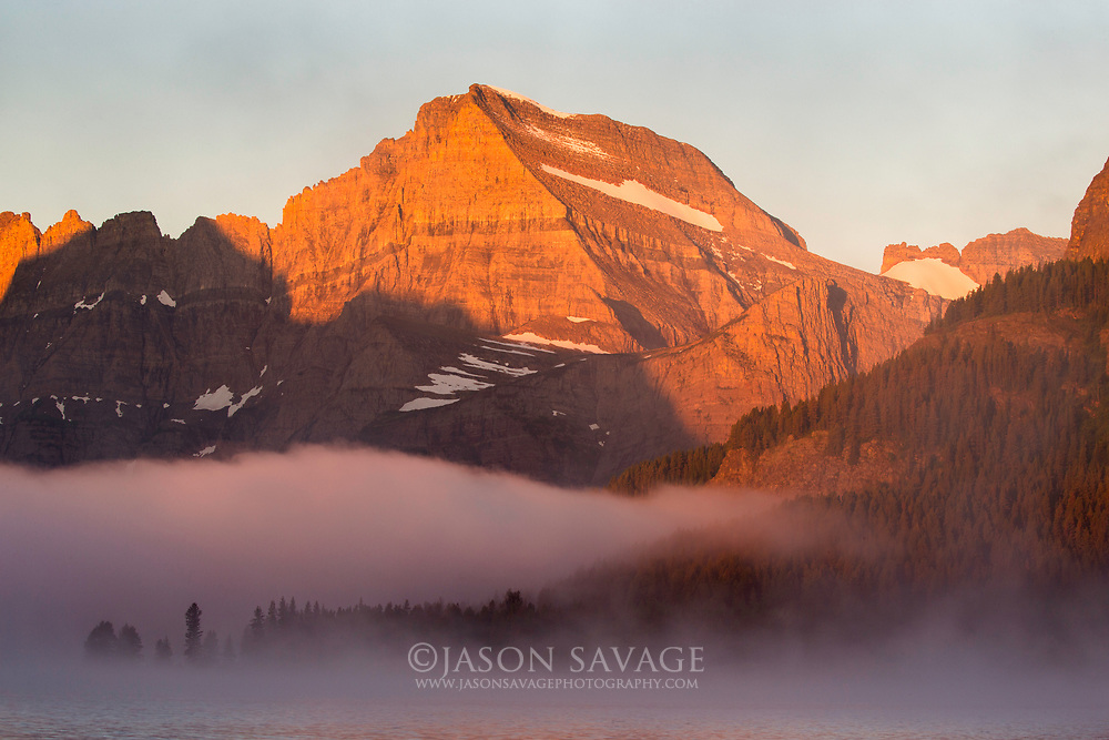 Sunrise on Mt Gould in Glacier National Park.