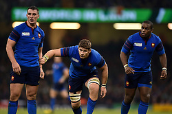 Louis Picamoles, Pascal Pape and Eddy Ben Arous of France look on - Mandatory byline: Patrick Khachfe/JMP - 07966 386802 - 11/10/2015 - RUGBY UNION - Millennium Stadium - Cardiff, Wales - France v Ireland - Rugby World Cup 2015 Pool D.