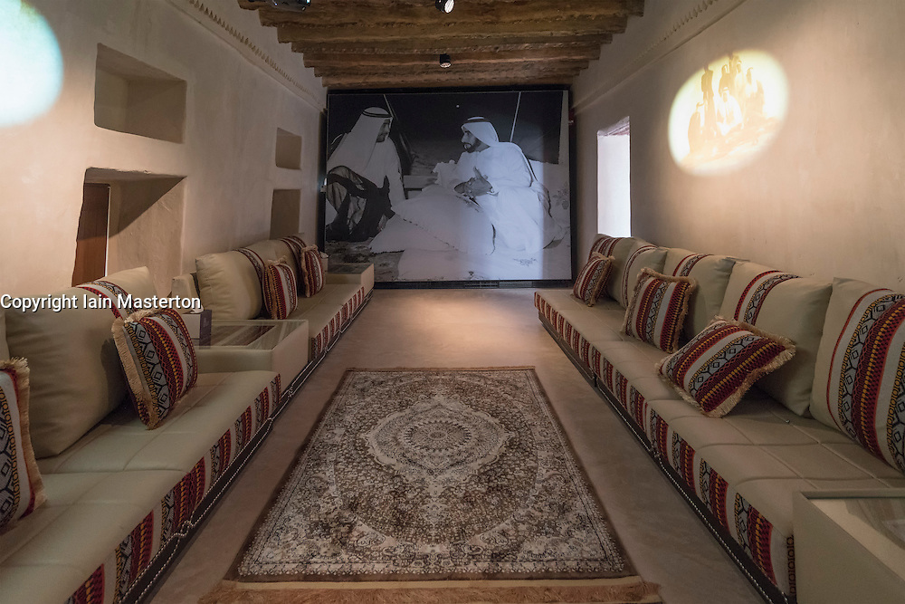 Interior of new museum at reconstructed fort at Qasr Al Muwaiji in Al Ain United Arab Emirates UAE