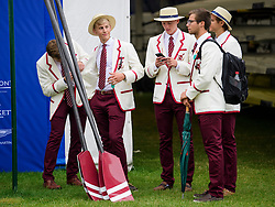 © Licensed to London News Pictures. 28/06/2017. London, UK. Members of Colgate University Rowing from Hamilton, New York, attend Day one of the Henley Royal Regatta, set on the River Thames by the town of Henley-on-Thames in England.  Established in 1839, the five day international rowing event, raced over a course of 2,112 meters (1 mile 550 yards), is considered an important part of the English social season. Photo credit: Ben Cawthra/LNP