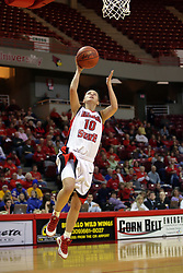 06 December 2008: Kristi Cirone brings the ball up the court on a breakaway to score during a game between the Eastern Michigan Eagles and the Illinois State Redbirds on Doug Collins Court inside Redbird Arena on the campus of Illinois State University, Normal Il.