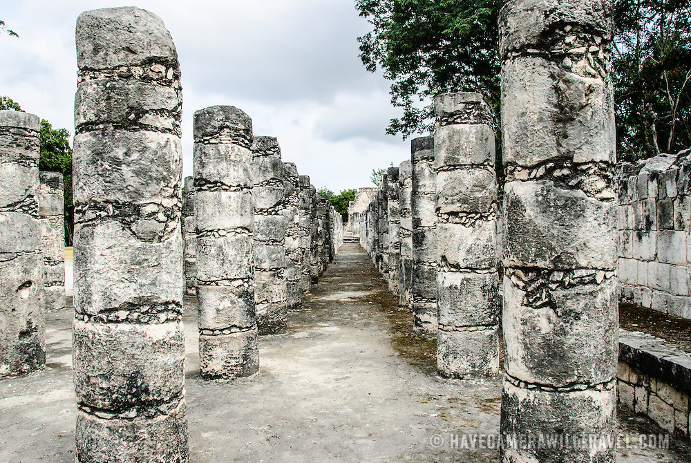 Rows of columns at the Temple of the Warriors at Chichen Itza Mayan ruins in Mexico's Yucatan Peninsula.