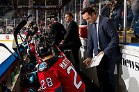 KELOWNA, BC - OCTOBER 12: Kelowna Rockets assistant coach Vernon Fiddler goes over a play on the bench against the Kamloops Blazers at Prospera Place on October 12, 2019 in Kelowna, Canada. (Photo by Marissa Baecker/Shoot the Breeze)