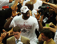 COPYRIGHT DAVID RICHARD.LeBron James is all smiles after Cleveland's win over Detroit..Detroit Pistons at Cleveland Cavaliers in Game 6 of the NBA Eastern Conference Finals, June 2, 2007.
