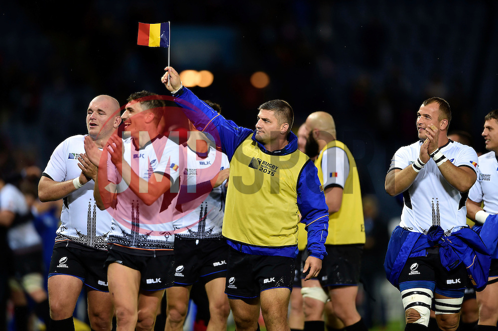 Paulica Ion and the rest of the Romania team celebrate at the final whistle - Mandatory byline: Patrick Khachfe/JMP - 07966 386802 - 06/10/2015 - RUGBY UNION - Leicester City Stadium - Leicester, England - Canada v Romania - Rugby World Cup 2015 Pool D.