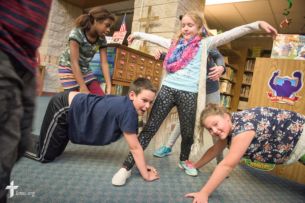 Students play a game during an after-school program held by teacher Heather Oechsmer on Thursday, Oct. 27, 2016, at First Immanuel Lutheran School in Cedarburg, Wis. LCMS Communications/Erik M. Lunsford