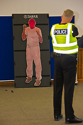 EMBARGOED TILL 16:00 14 DECEMBER 2017<br /> <br /> Pictured: Sergeant Dale Martin demonstrated ther taser X2<br /> <br /> Deputy Chief Constable Johnny Gwynne was at Tullialan Police College today tol make an announcement on police officer safety with 500 sadditional officers being trained and deployed with tasers to combat the number of incidents where officers are injured.<br /> <br /> Ger Harley | EEm 14 December 2017