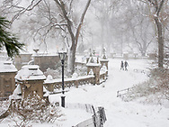 A blizzard at Bethesda Terrace in Central Park.
