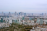 aerial cityscape view from Roppongi Hills district towards Shinjuku with Tokyo Metropolitan Government building