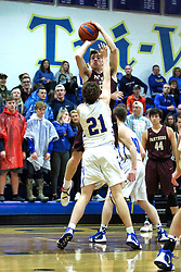 15 January 2019: Boys Basketball game between the Le Roy Panthers and the Tri Valley Vikings in Tri Valley High School, Downs IL<br />