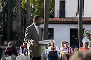 January 19, 2009 - Santa Barbara, CA: CA: Santa Barbara Honors Dr. Martin Luther King, Jr. with a morning program at De la Guerra Plaza.  Master of Ceremonies, Bill Spencer, President of the Brotherhood of Santa Barbara. (Photo by Rod Rolle)
