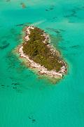 Aerial of a small island cay Abacos, Bahamas.