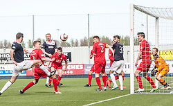 Raith Rovers Paul Watson stops Falkirk's David McCracken getting a shot.<br /> Falkirk 2 v 1 Raith Rovers, Scottish Championship game played today at The Falkirk Stadium.<br /> © Michael Schofield.
