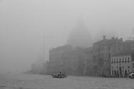 Italy. Venice. Santa Maria della SALUTE  in the fog . on Grand Canal  Venice - Italy  / brume sur le grand canal - Santa maria del Salute . sur le grand canal  Venise - Italie