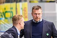 2019-10-15 | Umeå, Sweden: Björklöven Coach Joakim Fagervall and Björklöven Assist. coach Robert Kimby  in HockeyAllsvenskan during the game  between Björklöven and Västervik at A3 Arena ( Photo by: Michael Lundström | Swe Press Photo )<br /> <br /> Keywords: Umeå, Hockey, HockeyAllsvenskan, A3 Arena, Björklöven, Västervik, mlbv191015