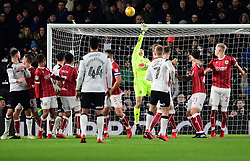 Johnny Russell of Derby County hits the bar with a free kick  - Mandatory by-line: Joe Meredith/JMP - 19/01/2018 - FOOTBALL - Pride Park Stadium - Derby, England - Derby County v Bristol City - Sky Bet Championship