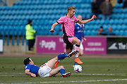 Carlisle United Midfielder Luke Joyce makes a spectacular tackle during the Sky Bet League 2 match between Carlisle United and Northampton Town at Brunton Park, Carlisle, England on 5 March 2016. Photo by Craig McAllister.