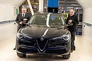 CASSINO, ITALY - NOVEMBER 24: Sergio Marchionne, chief executive officer of Fiat Chrysler Automobiles NV and Alfredo Altavilla, chief operating officer for EMEA FCA with the new Stelvio during the visit to the factory Alfa Romeo in Piedimonte San Germano on November 24, 2016 in Cassino, Italy