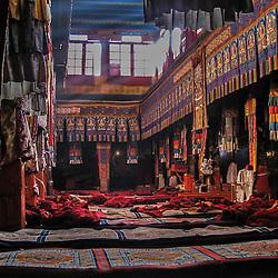 Main praying hall of Sera monastery at sunrise, Lhasa, Tibet