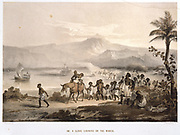 Slave Caravan on the March', Ethiopia. Tinted lithograph after drawing by JM Bernatz, published London, 1852.