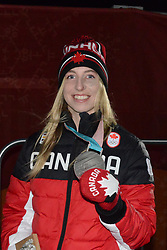 February 12, 2018 - Pyeongchang, South Korea - LAURIE BLOUIN of Canada with her silver medal from the snowboard Ladies' Slopestyle event in the PyeongChang Olympic games. (Credit Image: © Christopher Levy via ZUMA Wire)