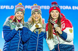 23.02.2019, Medal Plaza, Seefeld, AUT, FIS Weltmeisterschaften Ski Nordisch, Seefeld 2019, Skiathlon, Damen, 15km, Siegerehrung, im Bild v.l. Silbermedaillengewinnerin Ingvild Flugstad Oestberg (NOR), Weltmeisterin und Goldmedaillengewinnerin Therese Johaug (NOR), Bronzemedaillengewinnerin Natalia Nepryaeva (RUS) // f.l. Silver medalist Ingvild Flugstad Oestberg of Norway World champion and Gold medalist Therese Johaug of Norway and Bronce medalist Natalia Nepryaeva of Russian Federation during the winner Ceremony for the ladie's 15km Skiathlon competition of FIS Nordic Ski World Championships 2019 at the Medal Plaza in Seefeld, Austria on 2019/02/23. EXPA Pictures © 2019, PhotoCredit: EXPA/ Stefan Adelsberger