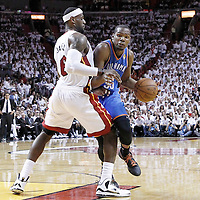 21 June 2012: Miami Heat small forward LeBron James (6) defends on Oklahoma City Thunder small forward Kevin Durant (35) during the second quarter of Game 5 of the 2012 NBA Finals, at the AmericanAirlinesArena, Miami, Florida, USA.