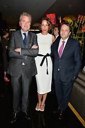 Left to right, FRANCOIS DELAGE, VANESSA ARELLE and SYLVAIN ERCOLI at a dinner at The Bulgari Hotel, 171 Knightsbridge to celebrate The London Design Festival on 13th September 2016.